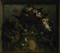 guirlande de fleurs dans un vase de bronze entoure de putti by elias van nymegen