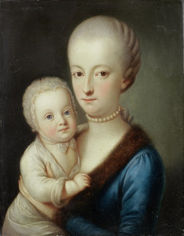 portrait of a gentleman half length wearing the order of the golden fleece and portrait of a lady half length in a blue dress and fur mantle holding her child pair by carl josef alois agricola