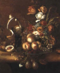still life of flowers and fruit on a stone table top by harmen loeding