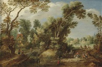 a wooded landscape with peasants and travellers on a path, a village beyond by gillis claesz de hondecoeter
