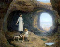 a mother and child in a seaside cave by jean descamps
