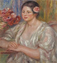 madeleine au corsage blanc et bouquet de fleurs by pierre-auguste renoir