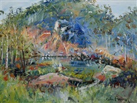 river & mountain landscape by celia perceval