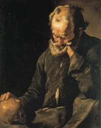 a bearded old man holding a skull by master of the annunciation to the shepherds