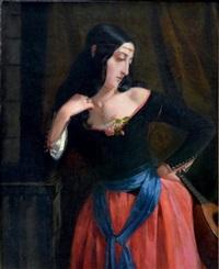 portrait d'andalouse by leon marie joseph billardet