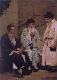 three scholars in a courtyard by a. von ritter