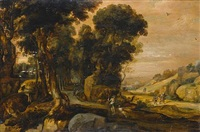 noli me tangere in an extensive wooded landscape by pieter van der hulst the younger