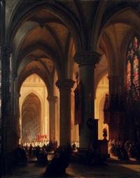 intérieur d'église avec procession by jules victor genisson