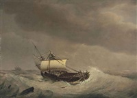 a ship in stormy waters by johannes hermanus koekkoek