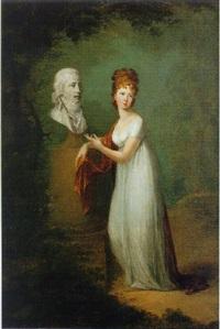 porträt einer jungen, adeligen dame im park vor der büste ihres mannes stehend by alexander molinari