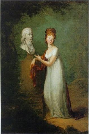 porträt einer jungen adeligen dame im park vor der büste ihres mannes stehend by alexander molinari