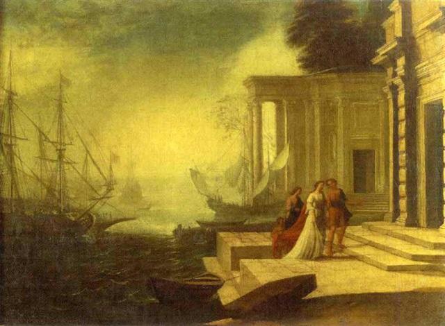 scène de port méditerranéen avec antoine et cléopâtre by alessandro salucci