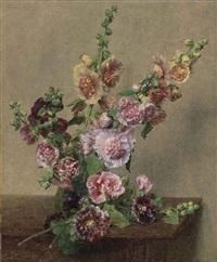 roses trémières by henri fantin-latour