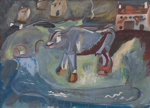 the cow calf by frances mary hodgkins