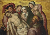 the lamentation with mary magdalene, saint john the evangelist and donors by hugo van der goes