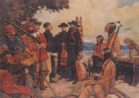 father hennepin jesuit priest taking leave of la salle to discover the headwaters of the mississippi by claude w gray