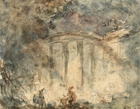 temple dans un parc by hubert robert