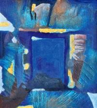 four remnat on four separate blue toned planes (sisa emas pada empat bidang yang terpisah dengan nuansa biru) by ahmad sadali