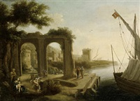 a mediterranean port with figures before a ruined arch by pierre antoine patel