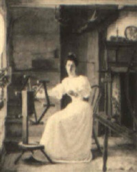 young woman spinning by edgar melville ward