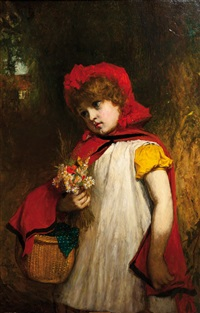 little girl in red cape by john burr