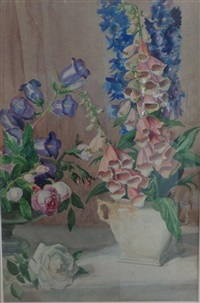 fox gloves with white rose by george laurence nelson