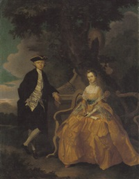 portrait of richard burney of barborne lodge and his wife in a landscape by carl marcus tuscher