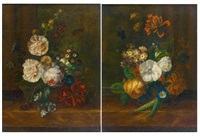 bouquet de fleurs sur un entablement (+ another; pair) by jan frans van dael
