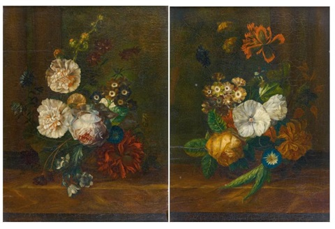 bouquet de fleurs sur un entablement another pair by jan frans van dael