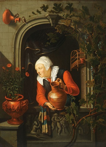 woman watering plants in a window niche by gerrit dou