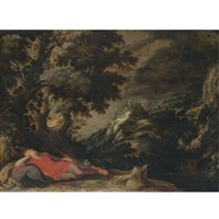 a hillly landscape with a figure resting in the foreground (jacob's dream?) by kerstiaen de keuninck