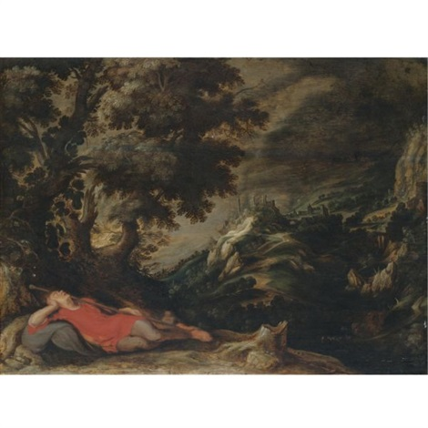 a hillly landscape with a figure resting in the foreground jacobs dream by kerstiaen de keuninck