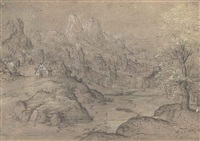a town in an extensive river landscape, mountains beyond by matthys (wellens de cock) cock