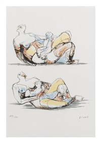 reclining mother and child studies (2 works) by henry moore