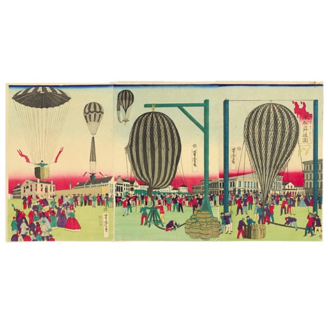 fusen shoyo zu balloon ascension triptych various sizes oban tate e by utagawa yoshitora