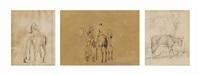 reiter und pferd; zwei reiter mit pferden; esel vor einem baum (3 works) by jacques-laurent agasse