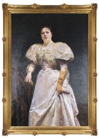 portret kobiety w sukni balowej by aleksander augustynowicz
