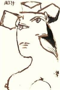 portrait de femme au charpeau, dora maar by pablo picasso
