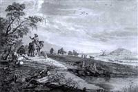 rastende und wanderer vor einer stadt mit einer anglerpaar by johann esaias nilson