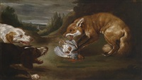 zwei jagdhunde einen fuchs mit einem toten rebhuhn stellend by paul de vos