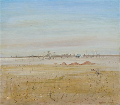 wimmera landscape with farm house by arthur merric bloomfield boyd