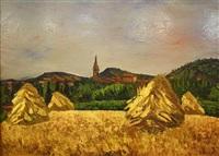 paysage aux meules de foins by jean couty
