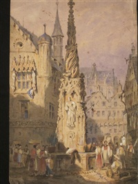 rues de rouen (2 works) by louis gabriel eugène isabey