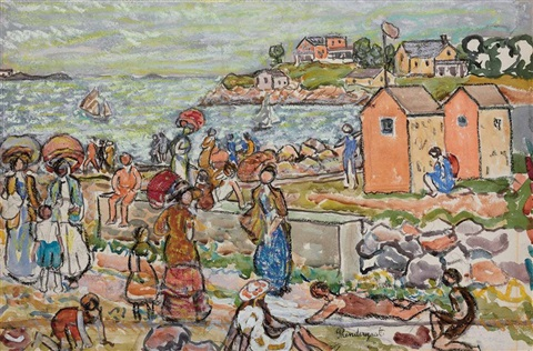 bathers and strollers by maurice brazil prendergast