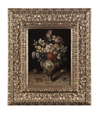 memento mori au bouquet de tulipes, insectes, coquillages et pièces de monnaies by georg flegel