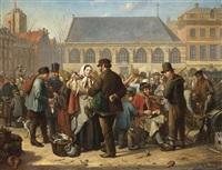 many figures on the nieuwe markt in rotterdam by jacob akkersdijk