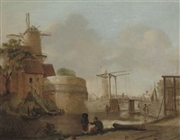 a river landscape with anglers on a bank, a mill beyond by jan ten compe