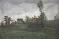 hameau dans un paysage de campagne by jacinthe pozier