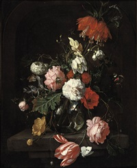 a tulip, pink roses, a crown imperial lily and other flowers in a glass vase, all on a stone ledge, surrounded by butterflies by david cornelisz heem iii