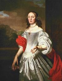 retrato de dama con vestido de seda gris by joannes buns